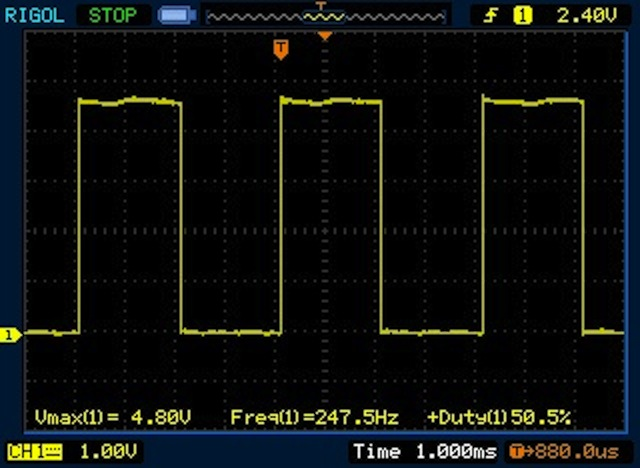 250Hz Square wave – viewed on an oscilliscope