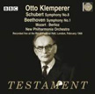 "Klemperer = MOZART: Masonic Funeral Music; SCHUBERT: Symphony No. 8 ""Unfinished"";   BERLIOZ: Love Scene from Romeo and Juliet Symphony; BEETHOVEN: Symphony No. 1 – New Philharmonia Orch./ Otto Klemperer – Testament (2 CDs)"