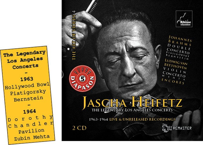 Jascha Heifetz: The Legendary Los Angeles Concerts = BRAHMS; HALVORSEN; BEETHOVEN; DVORAK; SARASOTE – Jascha Heifetz, violin/ Gregor Piatagorsky, cello/ NY Phil. Orch./ Leonard Bernstein/ LA Phil. Orch./ Zubin Mehta/ Bell Telephone Hour Orch./ Donald Vorhees – Rhine Classics