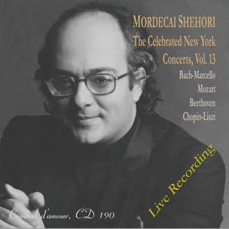 Mordecai Shehori: The New York Concerts, Vol. 13 = BACH: Keyboard Concerto; MOZART: Andante in F; Adagio in b minor; Rondo in D; BEETHOVEN: Sonata in A; CHOPIN: 6 Chants Polonais – Mordecai Shehori, piano – Cembal d'amour