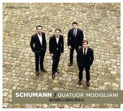 SCHUMANN: String Quartet in A Minor, Op. 41 No. 1; String Quartet in F Major, Op. 41 No. 2; String Quartet No. 3 in A Major, Op. 41 No. 3 – Modigliani Quartet – Mirare