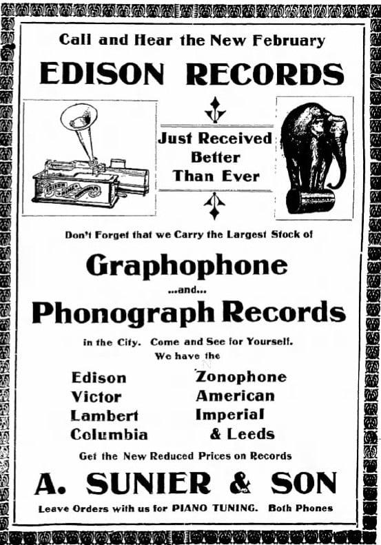 2/20/1906 Iowa Press-Citizen newspaper ad: Edison Records