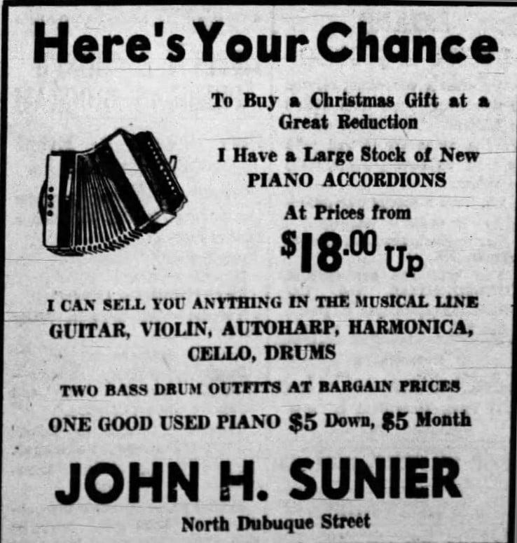 12/20/1937 Iowa City Press-Citizen: Sunier Piano Accordions