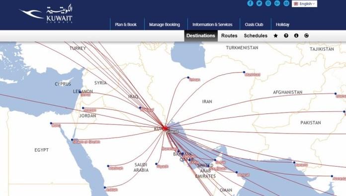 Kein Israel auf der RouteMap von Kuwait Airways. Foto Screenshot Kuwait Airways