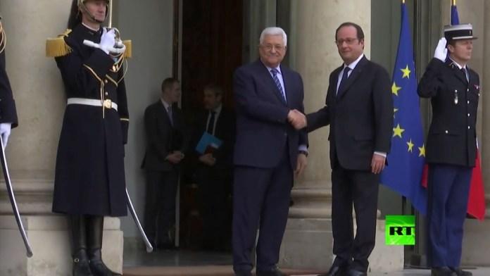 Palästinensische Führer hätten lieber das Frankreich, Schweden, Norwegen und Belgien den Friedensprozesses mit Israel beaufsichtigen als arabische Länder. Palästinenser vertrauen ihren arabischen Brüdern einfach nicht. Der Französische Präsident François Hollande mit dem Präsident der palästinensischen Autonomiebehörde Mahmud Abbas. Foto Screenshot Youtube