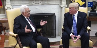 US Präsident Donald Trump mit Mahmoud Abbas im Weissen Haus am 3. Mai 2017. Foto Screenshot White House Video