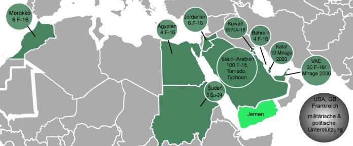Die arabische Allianz unter Führung von Saudi-Arabien versammelt eine eindrucksvolle Luftstreitmacht, eigene Darstellung, in Anlehnung an CNN: Operation Decisive Storm.