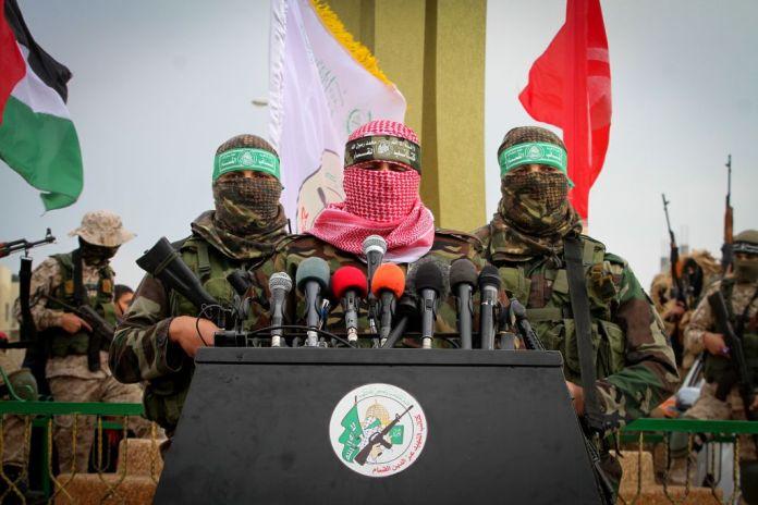 Abu Ubaida, Sprecher der Izz ad-Din al-Qassam Brigaden, der so genante militärische Flügel der Hamas, spricht während einer Veranstaltung Rafah am 31. Januar 2017. Foto Abed Rahim Khatib / Flash90