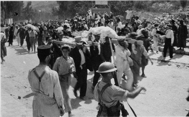 Begräbnis für ermordete Juden von Safed 1929. Foto Yad Yitzchak Ben-Zvi Archiv
