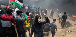 Ausschreitungen am 14. Mai 2018 an der Grenze zwischen Gaza und Israel. Foto Abed Rahim Khatib/Flash90