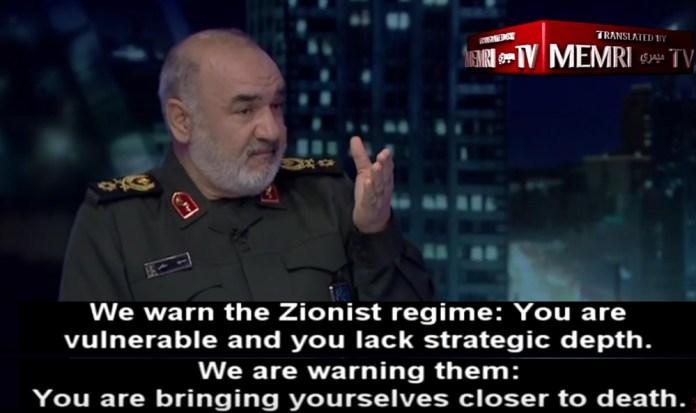 Der stellvertretende Kommandant der Islamischen Revolutionsgarde (IRGC) des Iran, Hossein Salami, hat Israel kürzlich im iranischen TV-Kanal 2 bedroht. Foto MEMRI /Screenshot