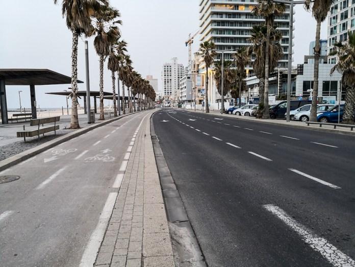 Leere Promenade in Tel Aviv am 27. März 2020. Foto Kobi Richter/TPS