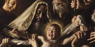 """Ausschnitt des Gemäldes mit dem Titel """"Das Martyrium des Hl. Simon von Trient bei der Ausführung eines jüdischen Ritualmords"""". Foto Facebook / giovannigasparroart"""