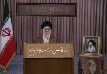 Ali Khamenei hält Quds-Day-Rede. Foto Screenshot Youtube / RT
