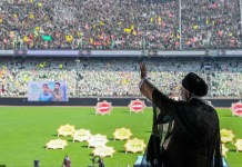 Konferenz der Basidsch-Mitglieder im Azadi-Stadion am 4. Oktober 2018. Die Basidsch-e Mostaz'afin (persisch بسيج مستضعفين' Mobilisierte der Unterdrückten', kurz Basidsch) sind eine als inoffizielle Hilfspolizei eingesetzte paramilitärische Miliz des Iran, die sich aus tausenden Freiwilligen rekrutiert. Foto http://farsi.khamenei.ir/photo-album?id=40633#i, CC BY 4.0, https://commons.wikimedia.org/w/index.php?curid=73424569