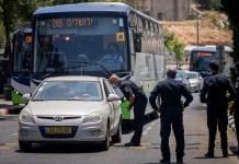 Strassensperre in der jüdischen Gemeinde Beitar Illit am 8. Juli 2020. Foto Yonatan Sindel/Flash90