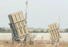 Iron-Dome-Batterien, das Verteidigungssystem gegen Kurzstreckenraketen, an der Grenze zwischen Gaza und Israel am 13. April 2018. Foto Elior Cohen/TPS
