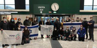 Ein Team israelischer Medizinexperten landete am 2. Dezember 2020 in Italien, um ein Krankenhaus im Piemont bei der Bewältigung des Anstiegs von COVID-19-Patienten zu unterstützen. Foto Sheba Medical Center