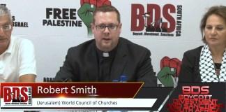 Robert Smith, Ökumenischer Rat der Kirchen an einem BDS Anlass in Südafrika im August 2015. Foto Screenshot Youtube / Africa4Palestine