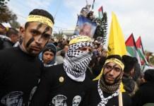 Anhänger der Fatah und ihres Führers Mahmoud Abbas (Abu Mazen) in Gaza. Foto Majdi Fathi/TPS