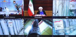 10. April 2021, Teheran, Iran: Der iranische Präsident Hassan Rouhani nimmt per Videokonferenz an der Eröffnungszeremonie von Nuklearprojekten in verschiedenen Regionen des Landes teil, die am 11. Rouhani ordnete an, dass die Zentrifugen der neuen Generation in der Nuklearanlage Natanz in Isfahan in Betrieb genommen werden. Foto IMAGO / ZUMA Wire