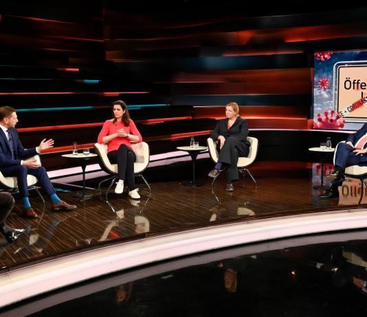 Markus Lanz vom 1. April 2021. Gäste: Michael Kretschmer, Wolfgang Kubicki, Journalistin Anja Maier und Virologin Prof. Melanie Brinkmann. Foto Screenshot ZDF.de