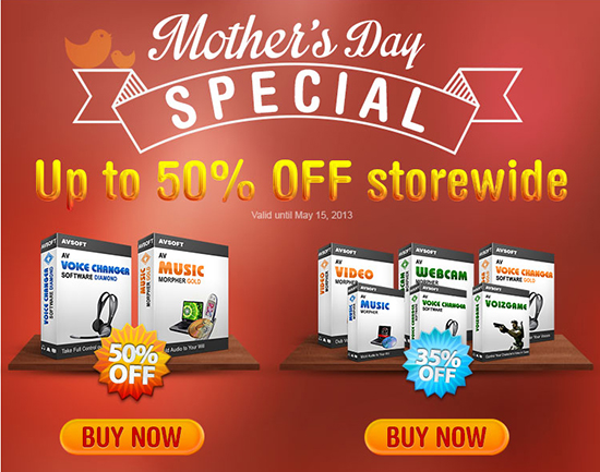 50% Discount for Mother's Day Gifting