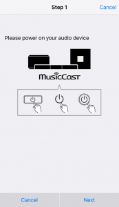 MusicCast App Setup Page 1