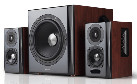 Edifier S350 front view of 3 speakers
