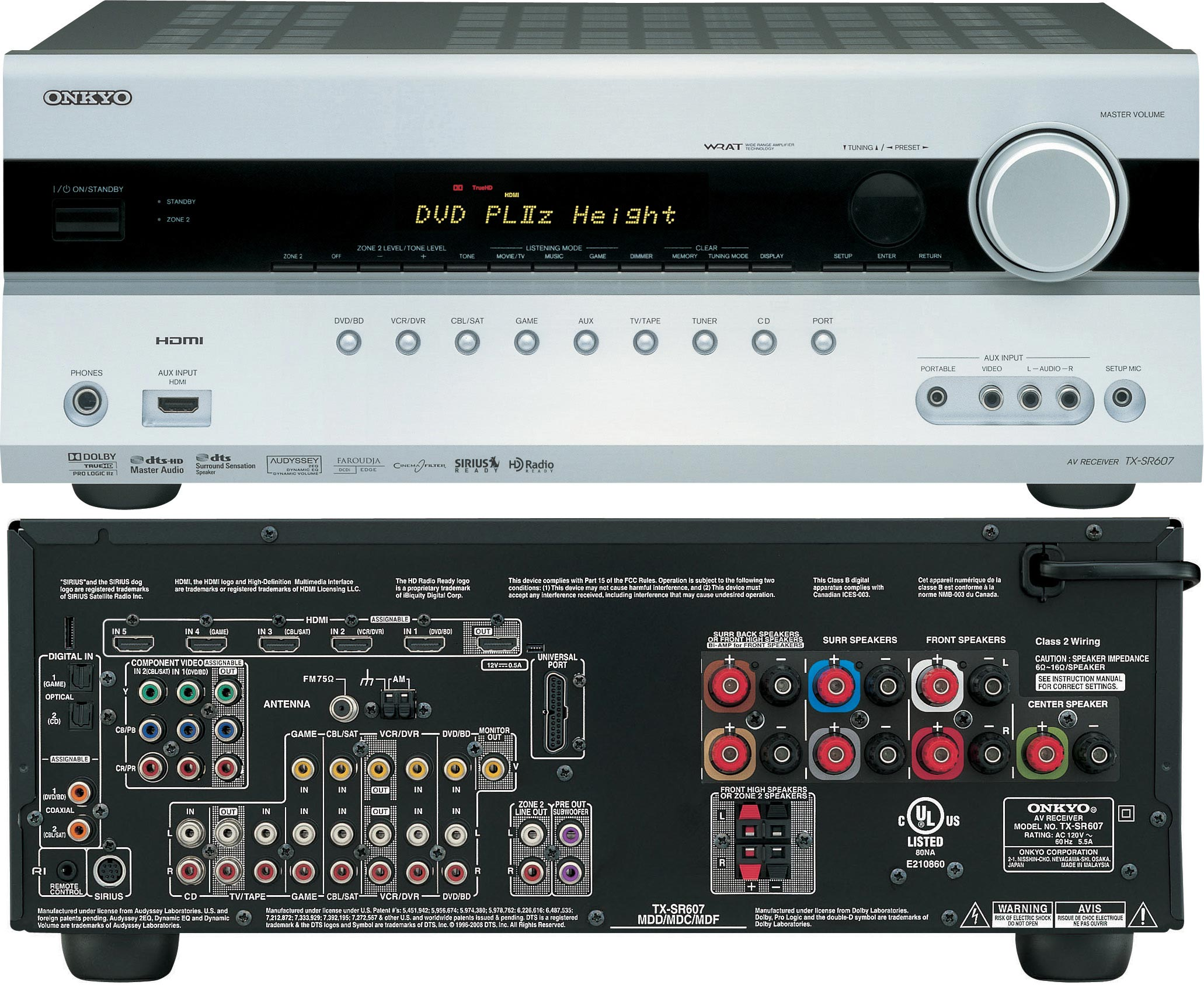 Onkyo Tx Sr607 With Dolby Pliiz Audioholics