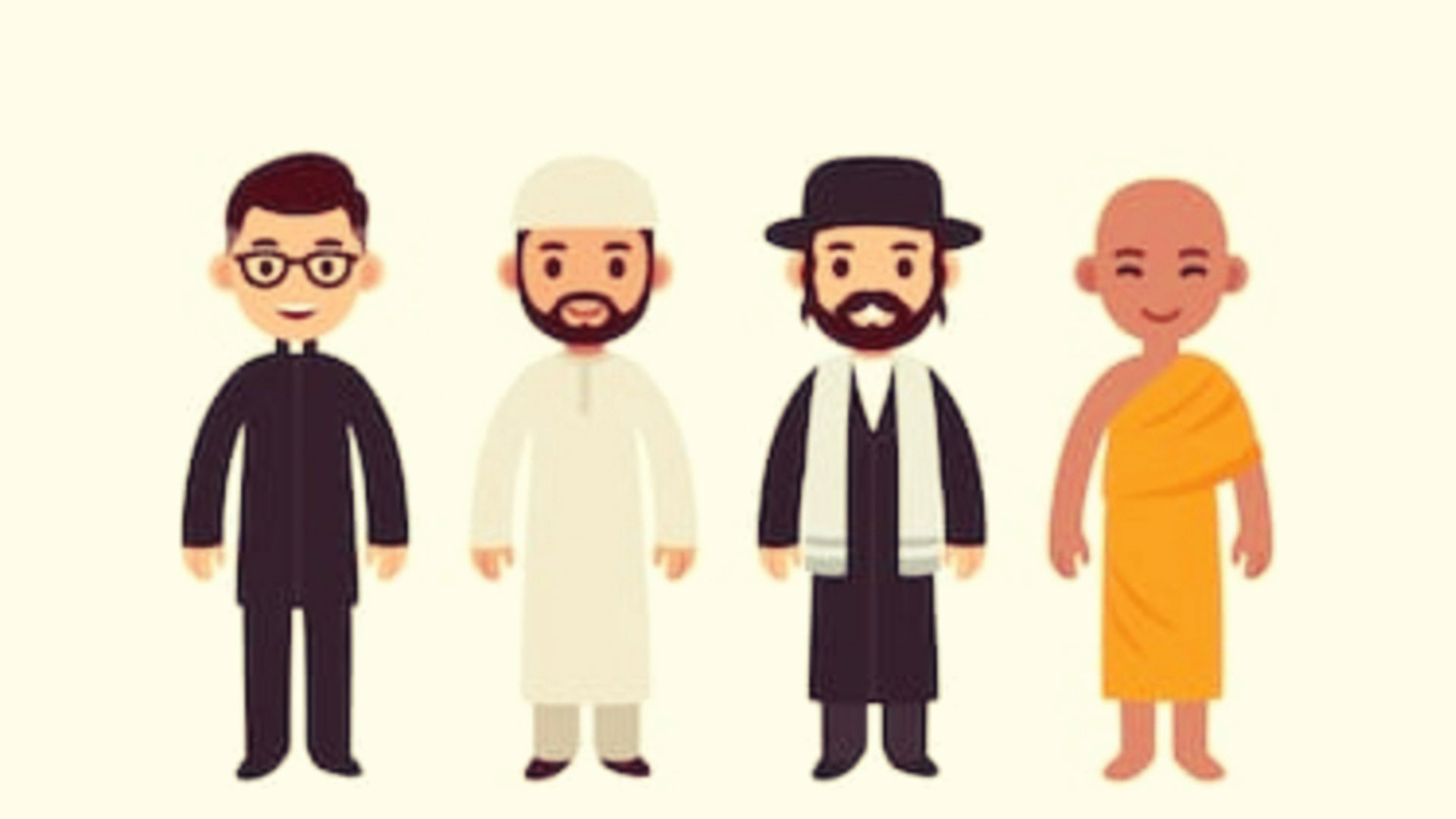 leaders of four religious organizations appear caricatured