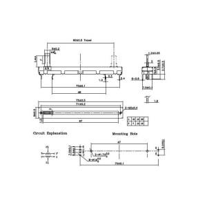 Stereo Linear Slide Potentiometer 60mm 10KOhm  Audiophonics