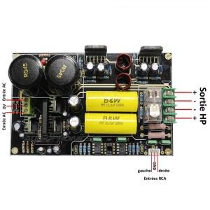LM3886 Stereo audiophile Amplifier Board 2x68W  4 Ohm  Audiophonics
