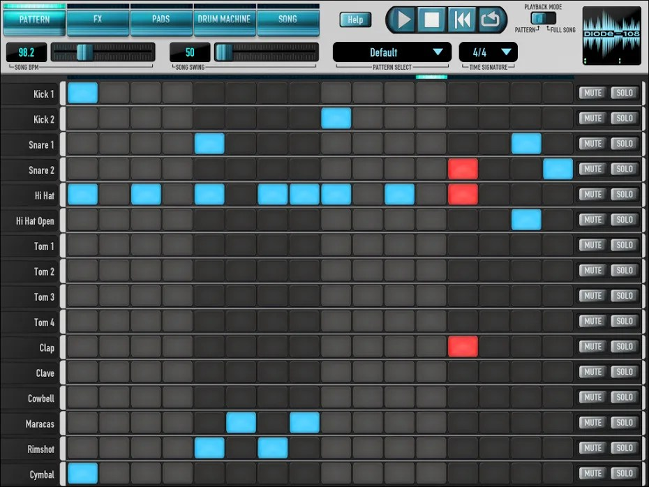 DIODE-108 (Drum machine, Drums, ipad) • Audio Plugins for Free