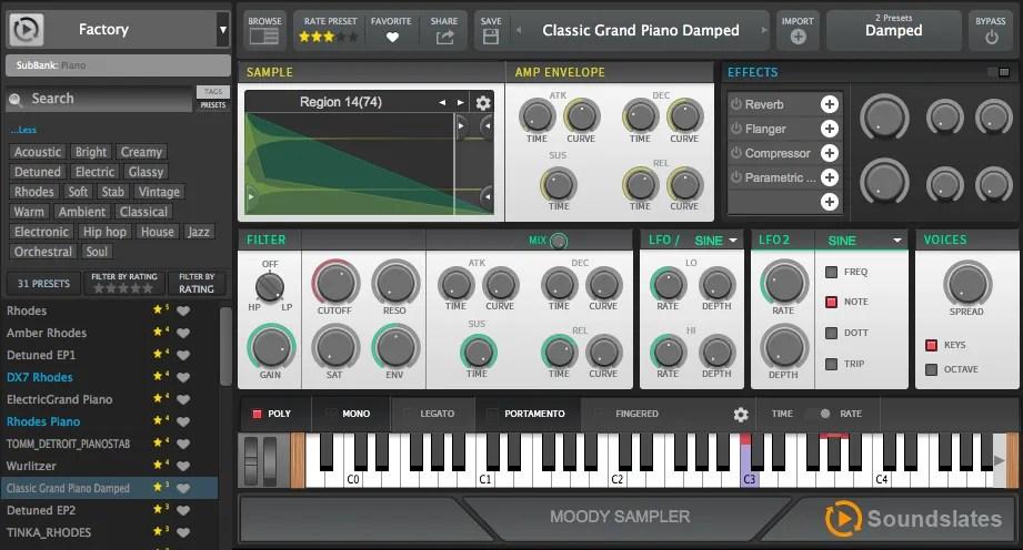 Moody sampler (Sampler, web connected) • Audio Plugins for