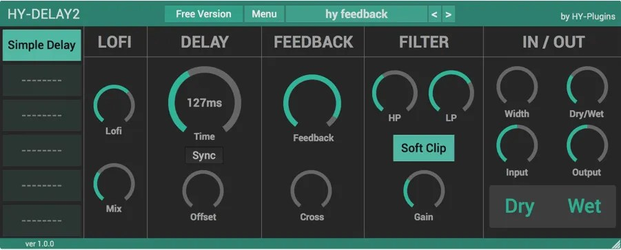 HY-Delay2 Free | Audio Plugins for Free