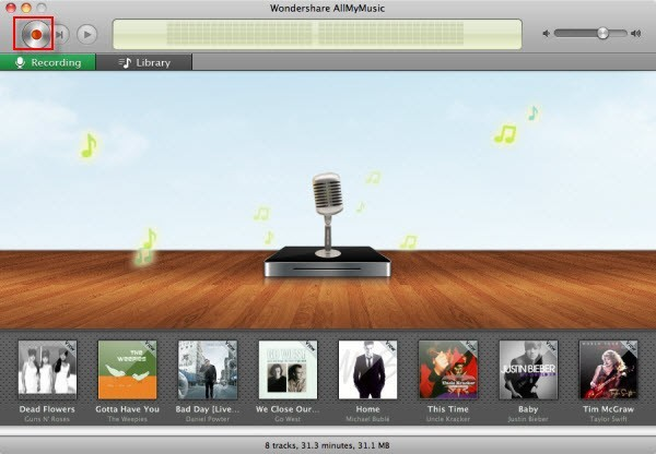 schermata streaming audio recorder