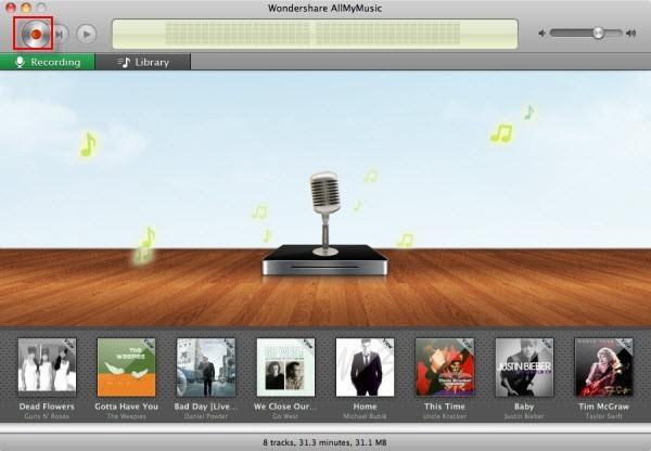 schermata streaming audio recorder