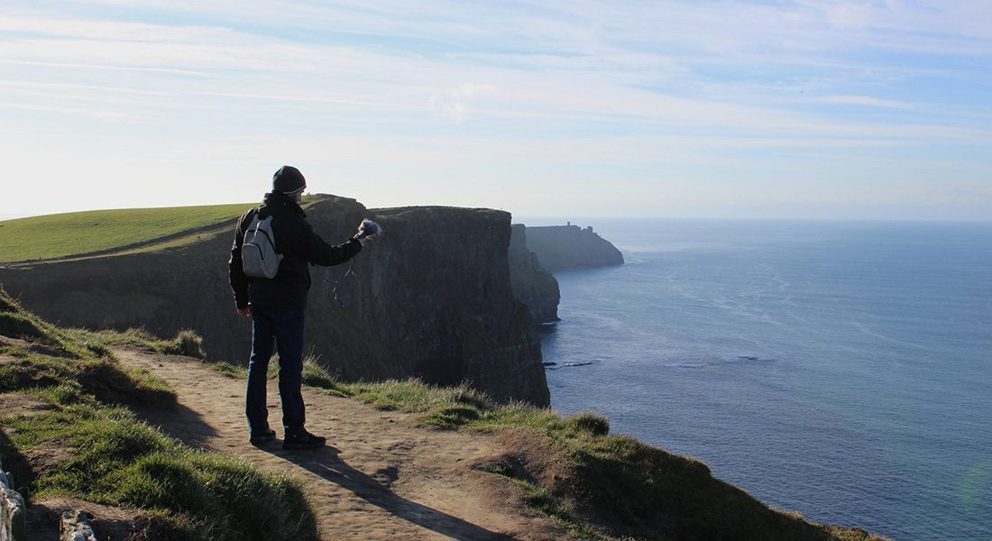 Recording the Cliffs of Moher, Ireland.
