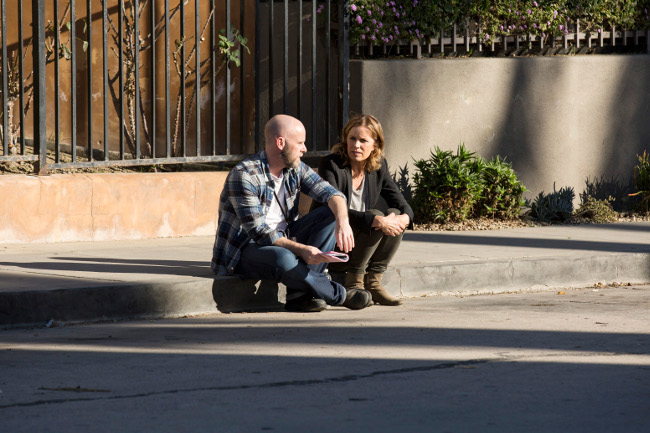 Executive Producer/ Director Dave Erickson and Kim Dickens as Madison - Fear the Walking Dead _ Season 1, Episode 1 _ BTS - Photo Credit: Justin Lubin/AMC