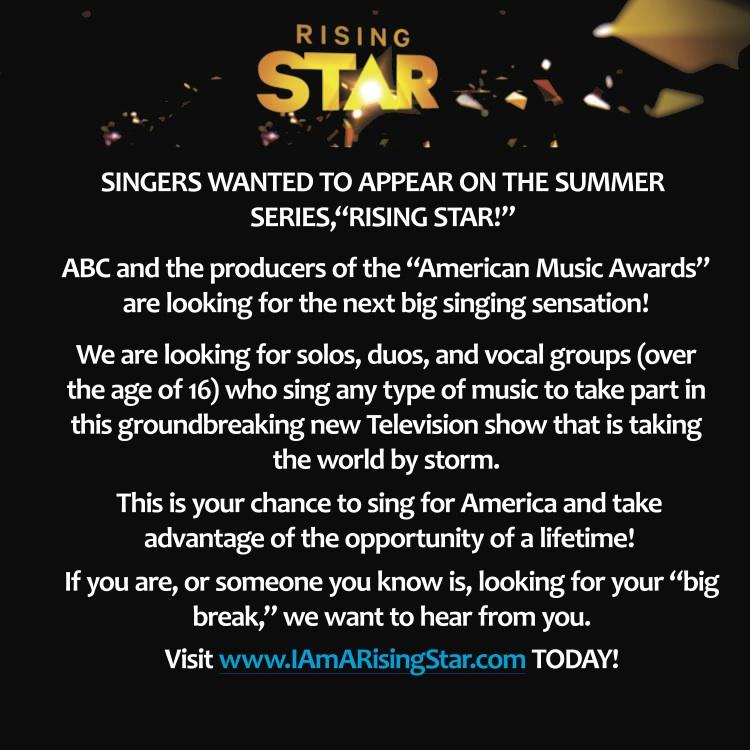 Rising Star audition flyer