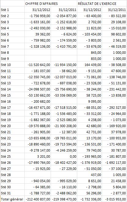 Analyse de la contribution des entités consolidées au chiffre d'affaires et au résultat consolidés (montant négatifs = soldes créditeurs)