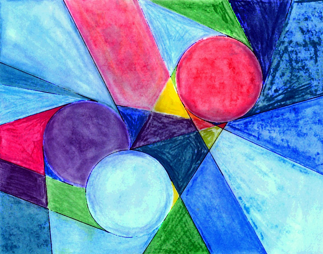 Geometric Skittles, colored pencil drawing by Audra Arr