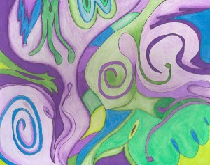 abstract art, fantasy, audra arr, purple, green, colored pencil