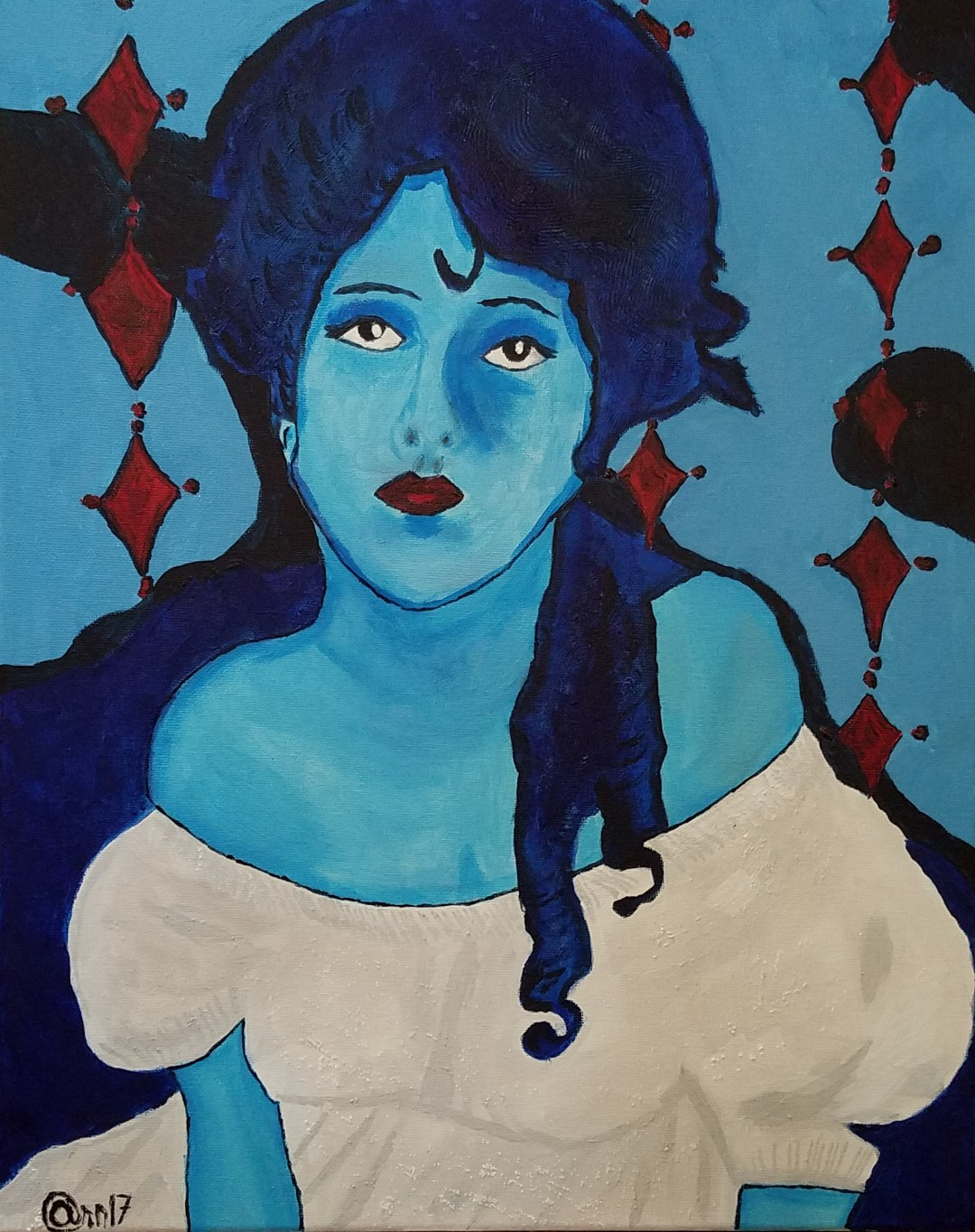 Evelyn Blue, Acrylic Portrait Painting by Audra Arr