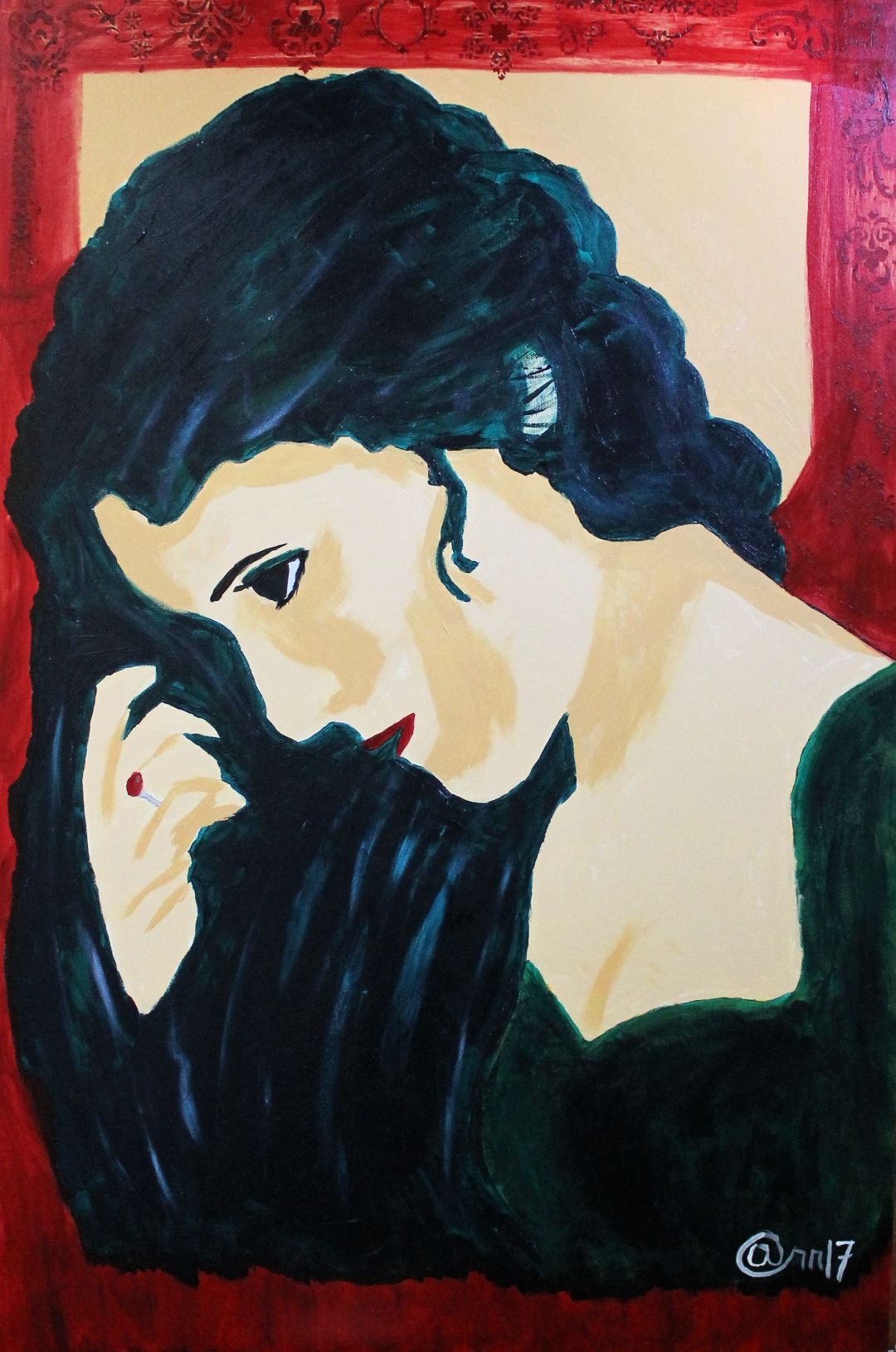 Evelyn Demure, acrylic painting by Audra Arr