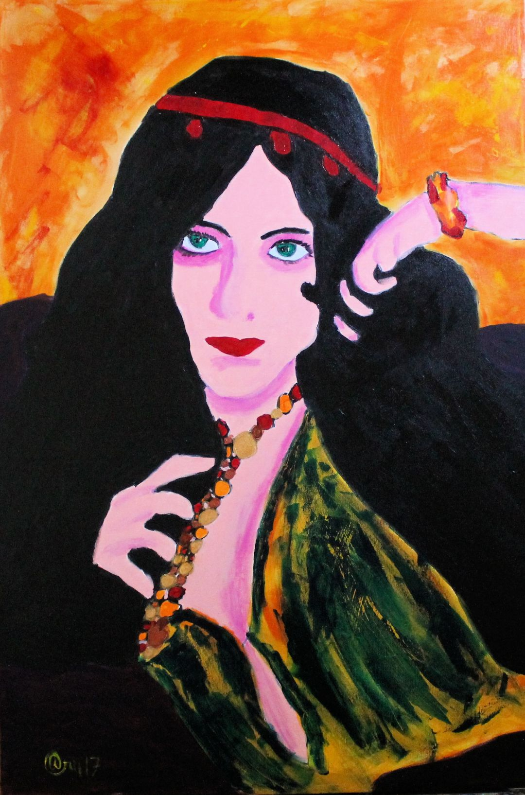 Evelyn Plays, acrylic painting by Audra Arr