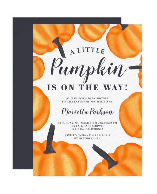 Printable Little Pumpkin Pattern Orange Fall Baby Shower Invitation