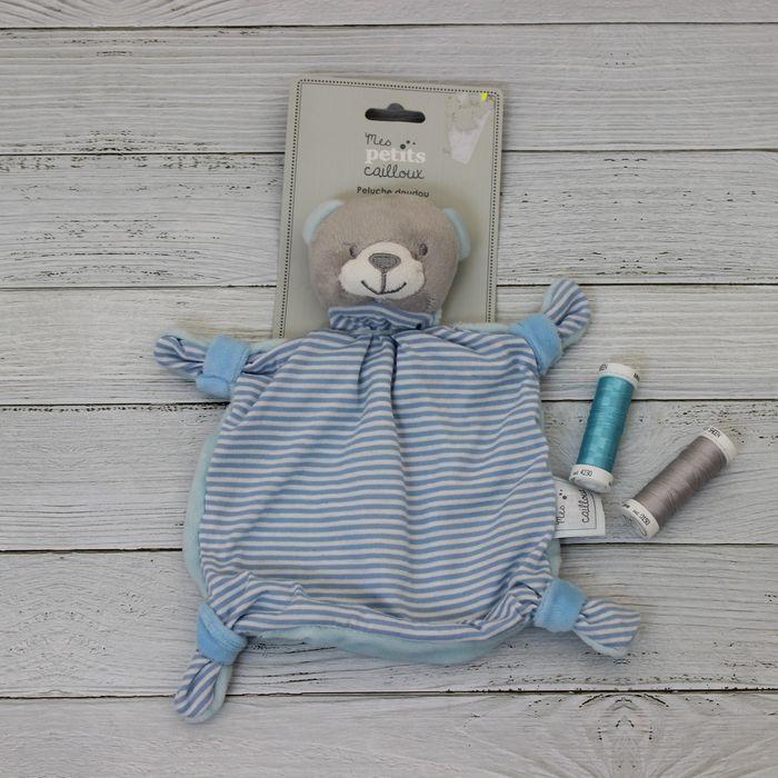 doudou ourson gris et bleu mes petits cailloux