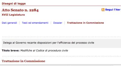 Osservazioni al disegno di legge – Senato 2284 per la delega al governo recante disposizioni per l'efficienza del processo civile